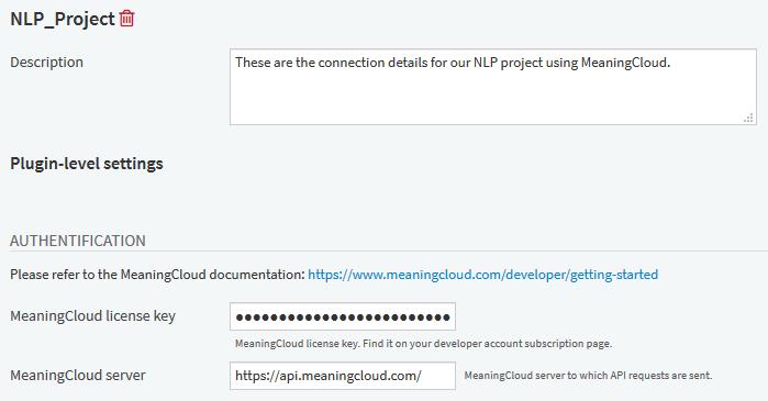 MeaningCloud Plugin Preset