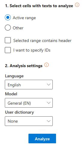 Sentiment Analysis user interface