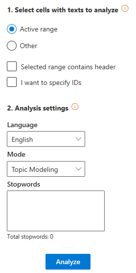 Text Clustering user interface