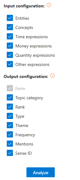 Topics Extraction advanced settings