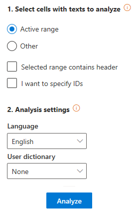 Topics Extraction user interface