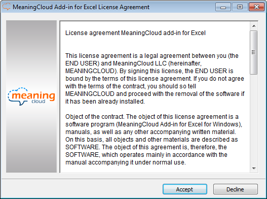 MeaningCloud Add-in for Excel License Agreement
