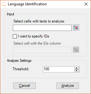 Language Identification user interface