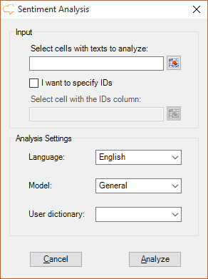 Sentiment Analysis user interface