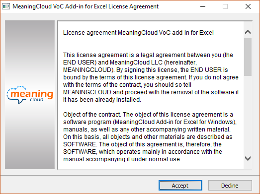 MeaningCloud VoC Add-in for Excel License Agreement