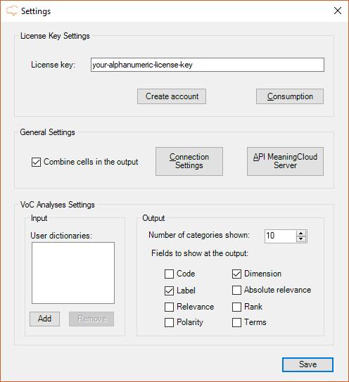 Settings user interface