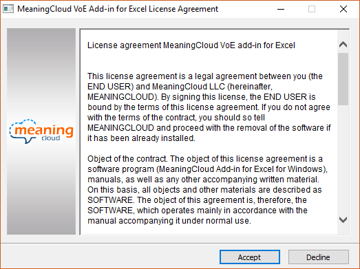 MeaningCloud VoE Add-in for Excel License Agreement