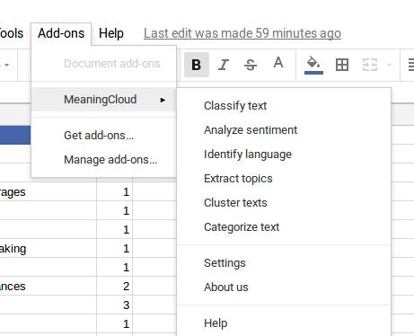 MeaningCloud add-on menu