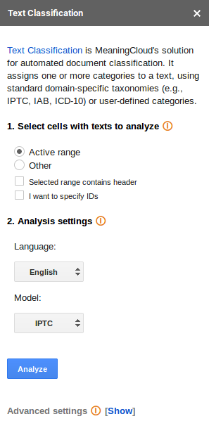 Text Classification user interface