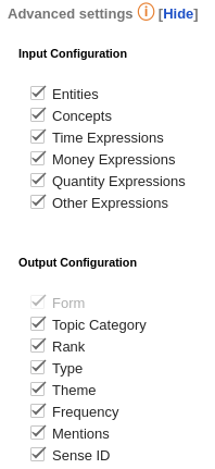 Topics Extraction advanced settings
