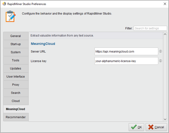 MeaningCloud RapidMiner Extension: license key
