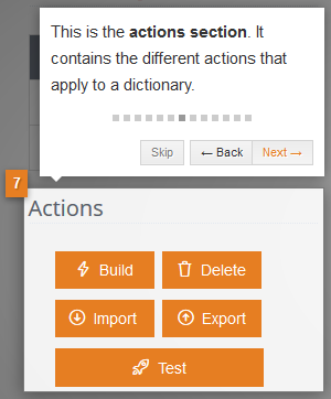 Actions section