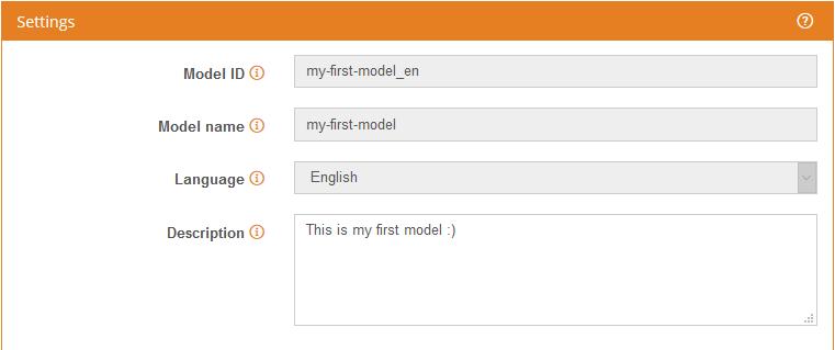 Model settings