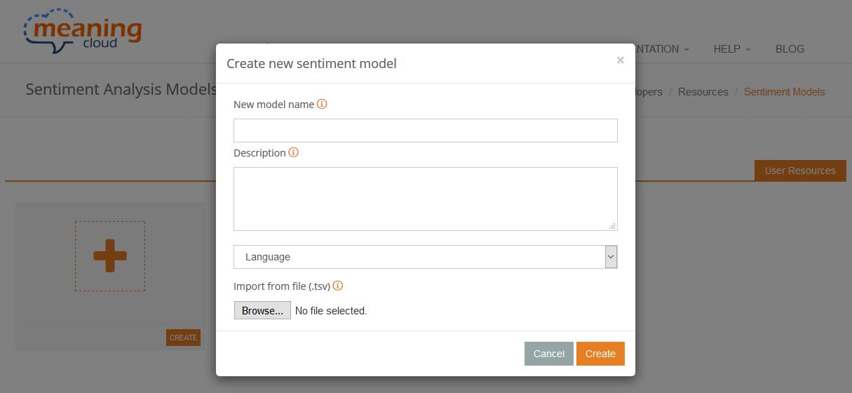 Create new model dialog