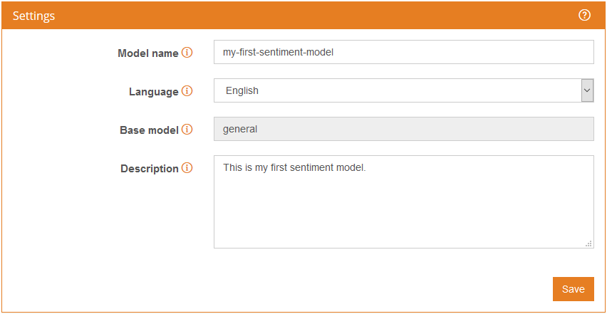 Sentiment model settings