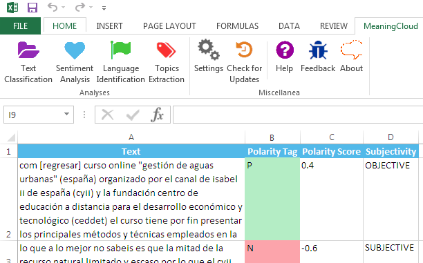 MeaningCloud for Excel