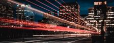 City lights moving fast