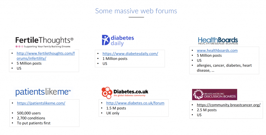 Massive web forums for the voice of the patient