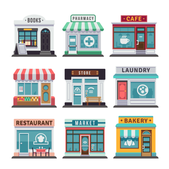 Illustration showing a group of shops. Voc Retail