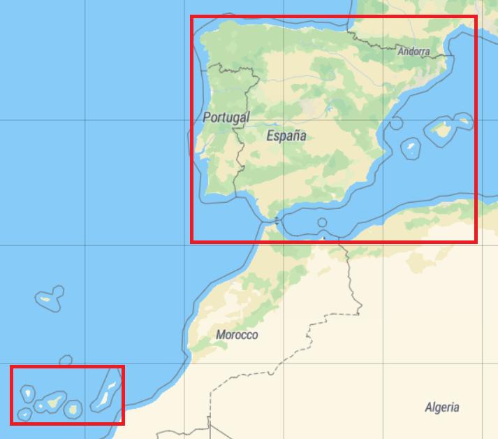 Definición de bounding boxes para España