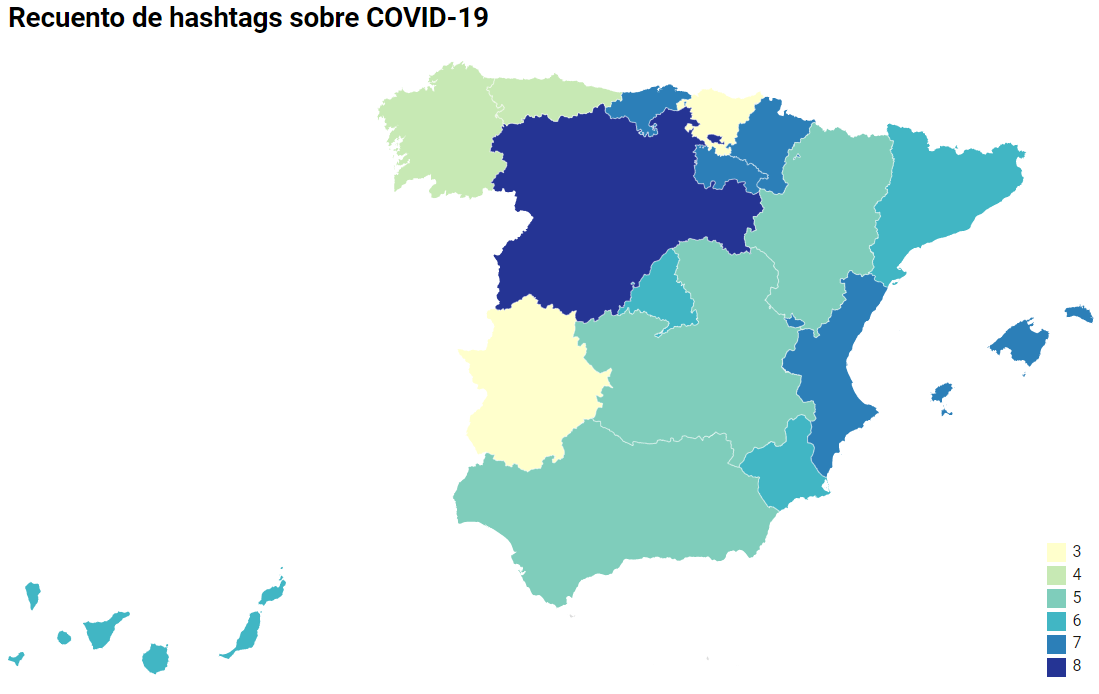 Recuento de hashtags frecuentes sobre coronavirus por comunidad autónoma